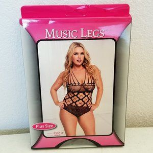 Music Legs Netted & Lace Teddy Shredded Straps Blk